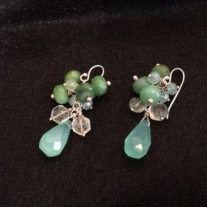 Jewelry - Chalcedony Quartz aventurine silver earrings